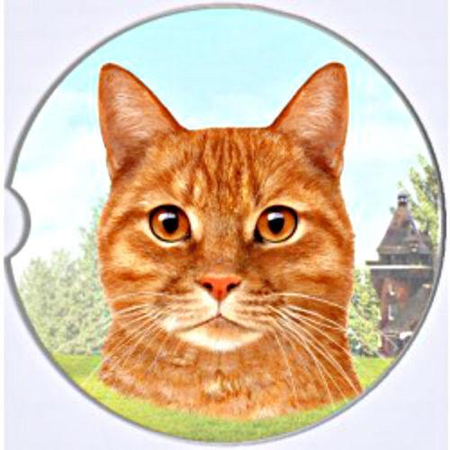Orange Tabby Cat Absorbent Car Coaster Stoneware Keep Car Cup Holder Dry