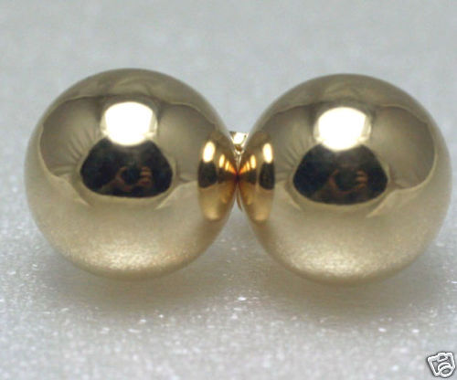Classic Solid 14K Yellow Gold 8mm Shiny Ball Studs Earrings Heavy Duty Backs