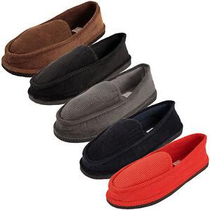 Идет загрузка изображения Mens Slippers House Shoes Corduroy Color Slip On