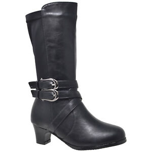 99a666cf6f19d Kids Knee High Boots Faux Leather Buckle Straps Low Heel Riding ...