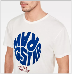 NWT G Star Raw GRAPHIC 6 Just the Product Short Sleeve Tee Milk White