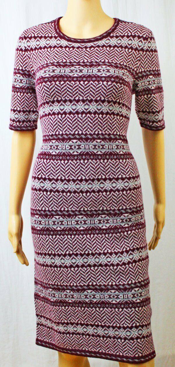 Lauren by Ralph Lauren Fair Isle Cashmere Blend Short Sleeve Sweater DressNWT