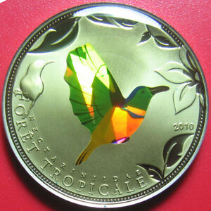 2010-TOGO-100-FRANCS-TROPICAL-GREEN-BIRD-HOLOGRAM-PRISM-PROOF-LIKE-no-silver