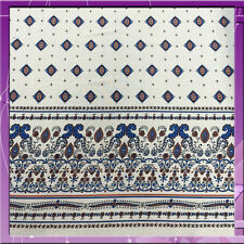 100% RAYON CHALLIS ONE BORDER 54 INCHES WIDE FABRIC BLUE / OFF WHITE