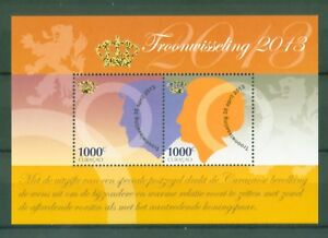 AgréAble Curaçao 2013-trône De La Reine Beatrix à Roi Willem-alexander-bloc 11-er - Block 11 Fr-fr Afficher Le Titre D'origine