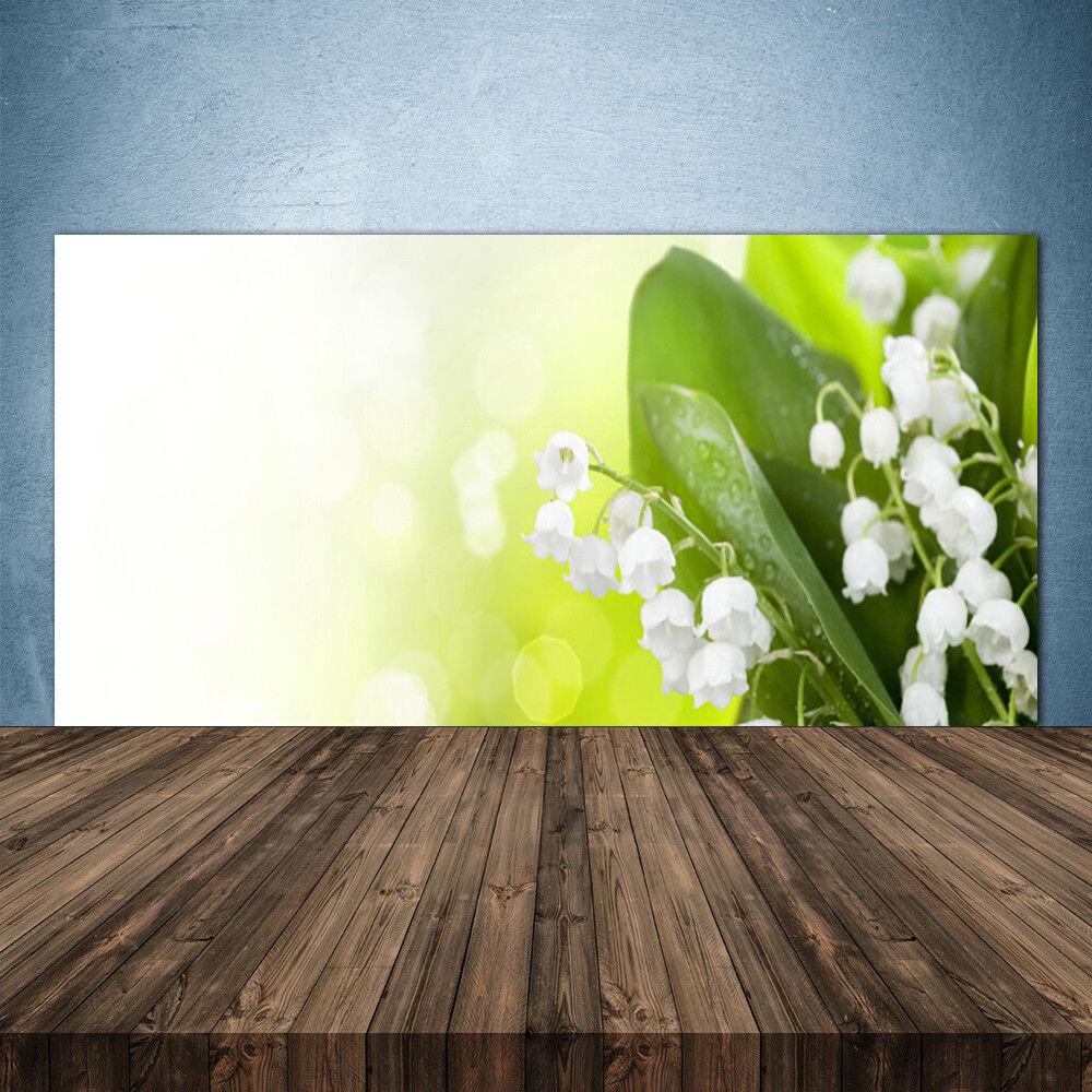 Vidrio Templado Cocina salpicaduras 140x70 Lirio del Valle Hojas Floral