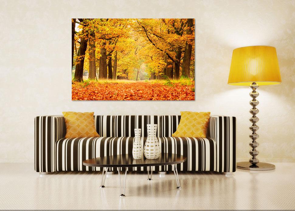 3D Goldene Ahornblätter Weg 74 Fototapeten Wandbild BildTapete AJSTORE DE Lemon