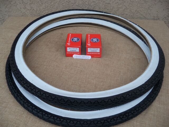 [2] 26'' X 2.125 WHITE-WALL TIRES & TUBES FOR CRUISER, LOW RIDER, TRICYCLE, ETC