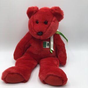 "Osito 14"" Red Teddy Bear Mexico Flag Plush Stuffed Toy 1999 Ty Beanie Buddies"