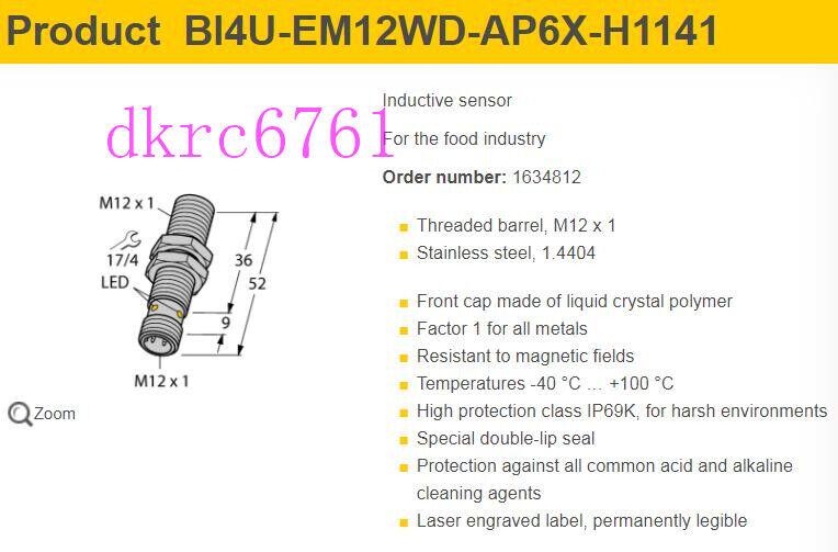 Original Turck Uprox BI4U-EM12WD-AP6X-H1141 Inductive Proximity Sensor; 10.30VDC