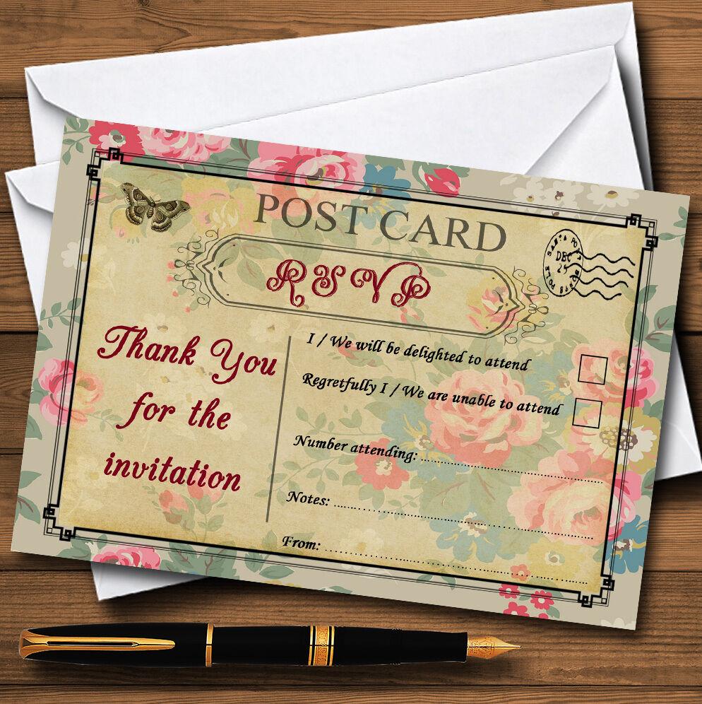 Floral vintage paris chic shabby chic paris carte postale personnalisé rsvp cartes 1dd569