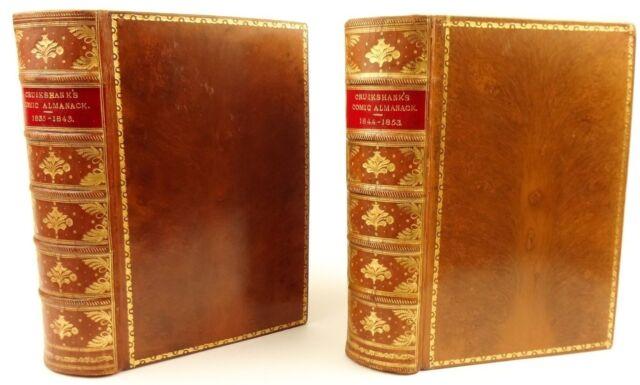 1835 to 1853 Comic Almanac, George Cruikshank. Tree calf binding. Humorous.