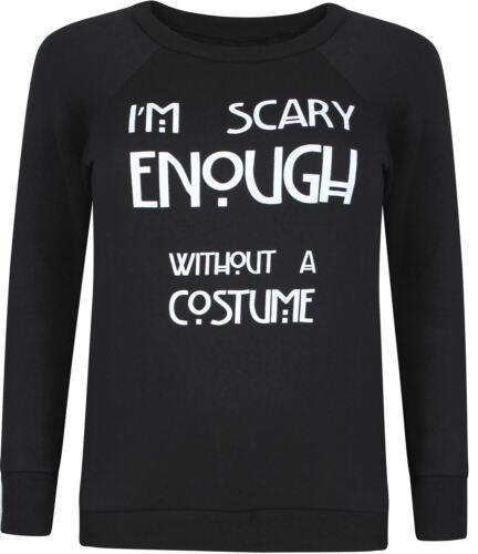 New Womens Scary Print Halloween Long Sleeve Thermal Sweatshirt Jumper Tops 8-22