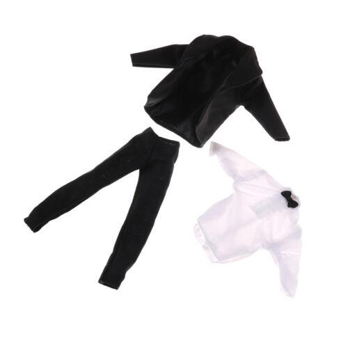 1 set Formal Suit Black Bowtie Wedding Groom Clothes Tuxedo For  Ken LY
