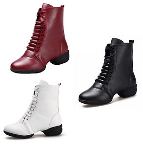 Women-Dancing-Shoes-Leather-Jazz-Dance-Boots-Lace-Up-Sport-Soft-Sole-Chunky-Heel
