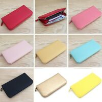 Genuine Saffiano leather Candy color Zip-around long Wallet Purse