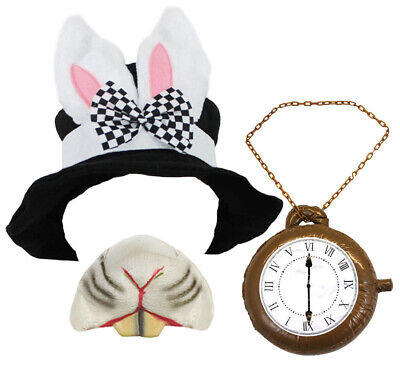BLACK TOP HAT WITH BUNNY EARS WHITE RABBIT FANCY DRESS COSTUME ACCESSORY W BOW