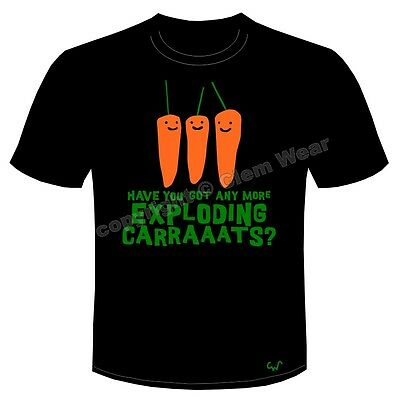 LADIES Exploding Carrots Bottom Rik Mayall inspired t-shirt comedy funny tee BN