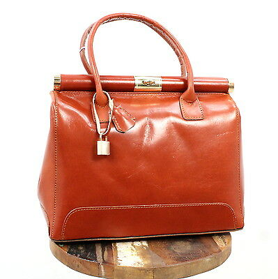 Florencebags Schultertasche Leather Damen Handtasche Leder Tasche Braun A2787