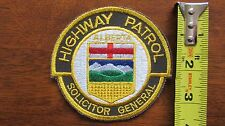 ALBERTA HIGHWAY PATROL POLICE PATCH SOLICITOR GENERAL SHERIFF CANADA CANADIAN