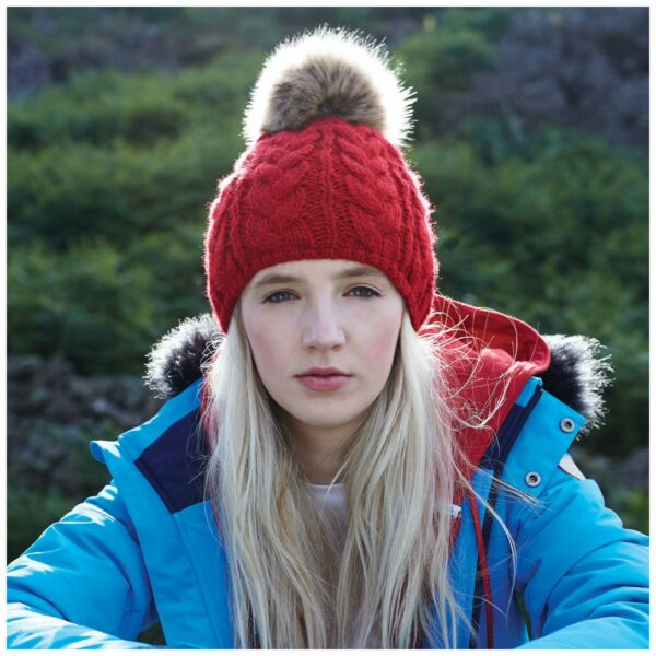 Cable Knit Beanie Chunky Winter Warm Woolly Bobble Hat Faux Fur Pom Pom  Unisex. Hover to zoom 815b1bb693d0