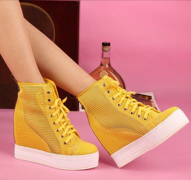 Women's Casual Mesh Hidden Wedge High Heel Lace Up Sneakers Athletic shoes A1009