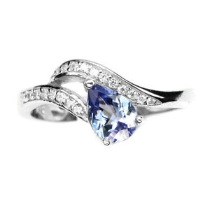 Pear-7x5m-Blue-Tanzanite-Cz-14k-White-Gold-Plate-925-Sterling-Silver-Ring-Size-7