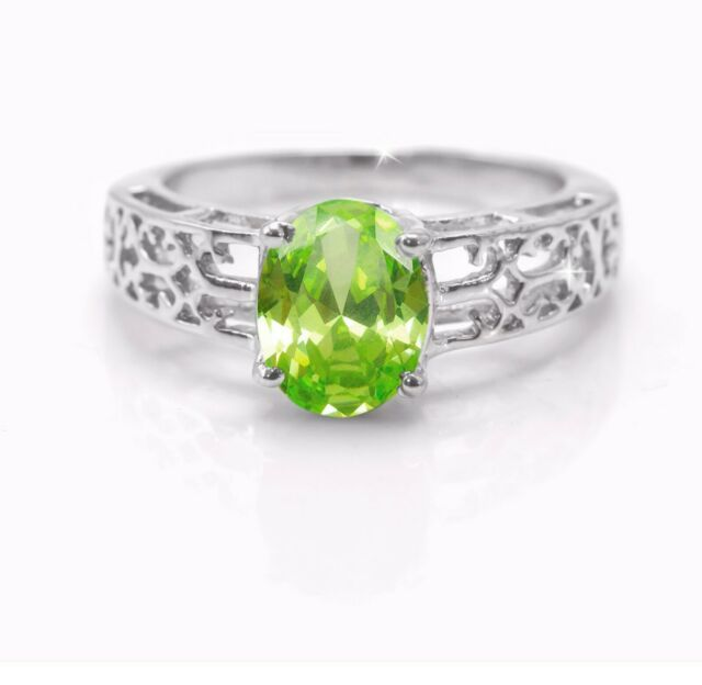 100/% NATURAL 6X4MM PERIDOT APPLE GREEN GEM FREE SIZE SILVER 925 RING SIZE 5