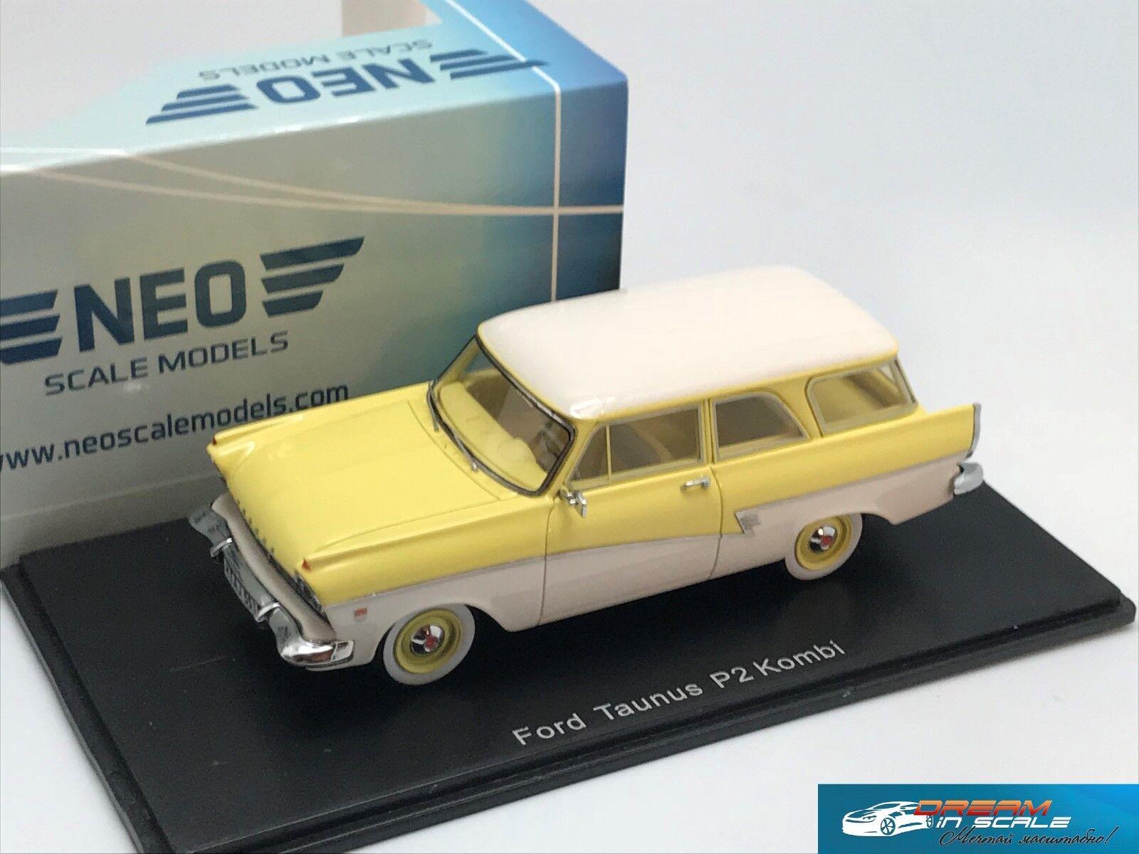 Ford Taunus P2 Kombi 1958 Jaune Blanc NEO44551 1 43