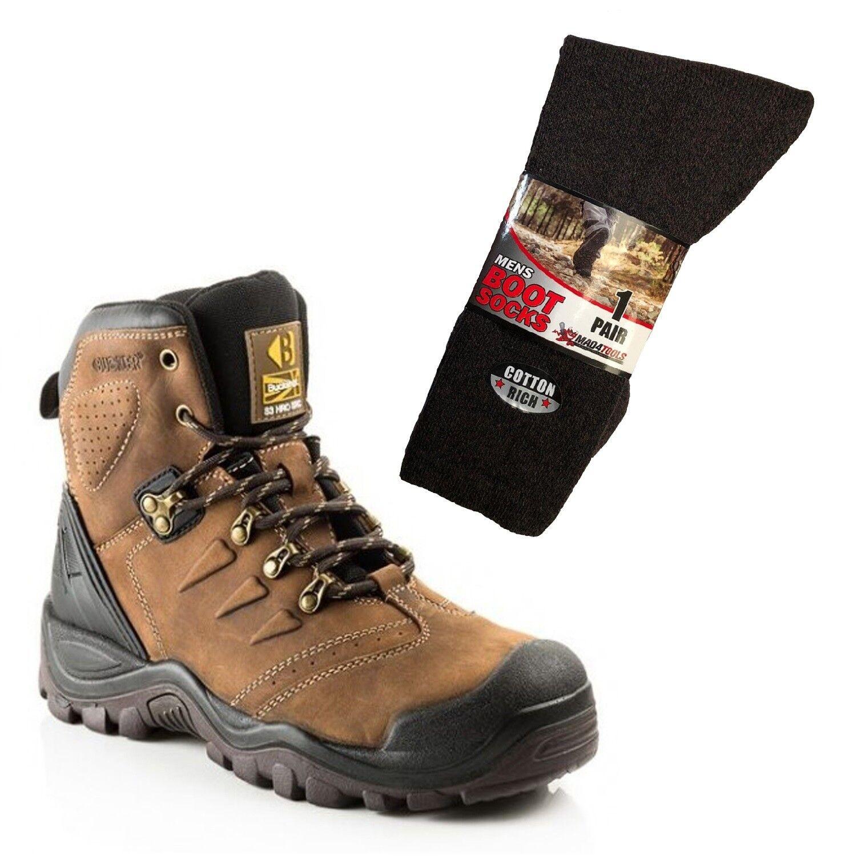 Buckler BSH007BR Anti-Scuff Safety Work Stiefel braun & 1 Pair of Socks