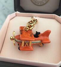 NIB 100% Authentic Juicy Couture Orange Airplane Flight w/ Yorkie Charm Rare