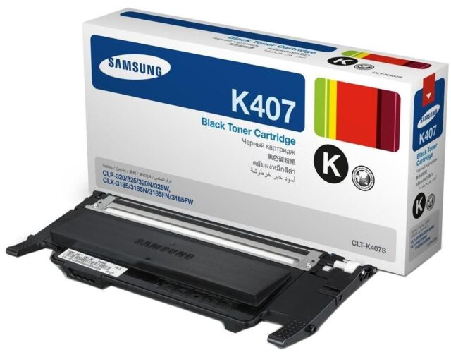 Samsung Genuine CLT-K407S BLACK Toner (SU132A) For CLP320N CLP325 1.5K Pages