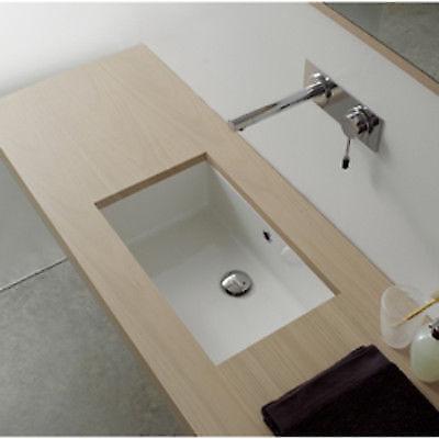 White Nameeks Scarabeo 8032-No Hole Gaia Rectangular Ceramic Self Rimming//Vessel Sink