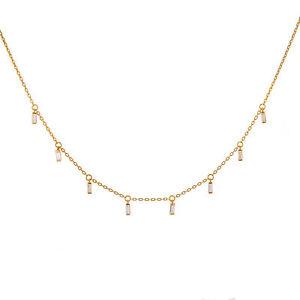 Gelb-vergoldetes-Sterling-Silber-Multi-Tiny-klar-Baguette-CZ-Drop-Halskette