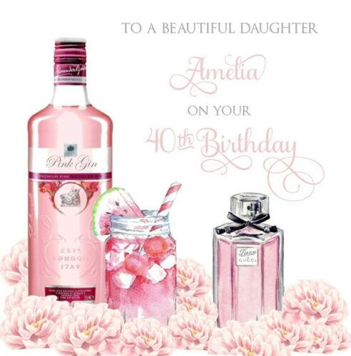 PERSONALISED cute pretty Pink Gin birthday card 18th 21st 30th 40th 50th any age