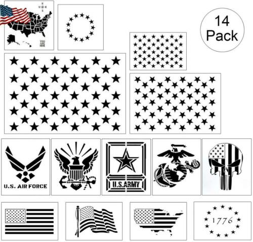 American Flag Stencil Templates 14 Pack 50 Stars 13 Stars 1776 c32880
