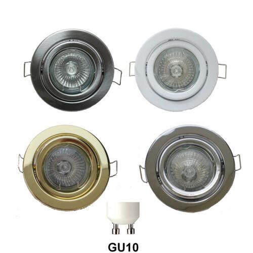 GU10 MAINS DOWNLIGHT 240 VOLT HALOGEN LED TILTABLE GIMBAL SPOTLIGHT DOWNLIGHTER