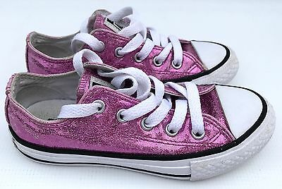 Kids Converse All Star Low Youth Trainers Icon Violet Glitter White Kids