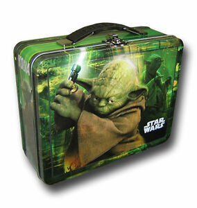 Tin-Metal-Lunch-Snack-Toy-Box-Embossed-Star-Wars-Jedi-Master-Yoda-Green-NEW