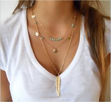 Fashion Charm Jewelry Pendant Chain Long Gold Bib Choker Statement Necklace