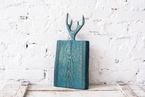 Board With Horns 17-inch Serving Original Design Handmade Wood Cutting