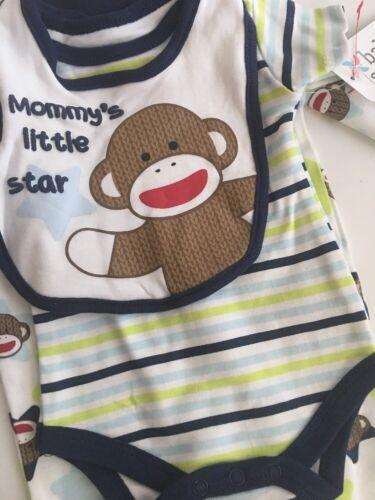 Sock Monkey Baby Boy Coverall Pajamas Bodysuit Bib Set Size 3 6 9 Months Blue