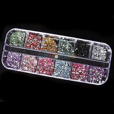 12 Color 1200pcs 2mm Round Rhinstones Hard Case Nail Art Tips Acrylic UV Gel #B1