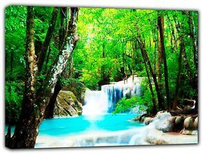 Amazing Nature Cascade Photo Imprimé Sur Encadrée Toile Mural Art Maison Décoration-afficher Le Titre D'origine