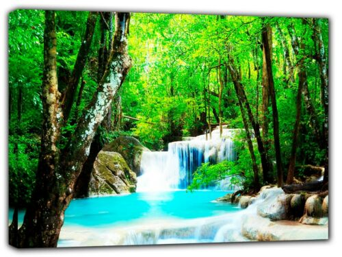 AMAZING NATURE WATERFALL PICTURE PRINT ON FRAMED CANVAS WALL ART HOME DECORATION