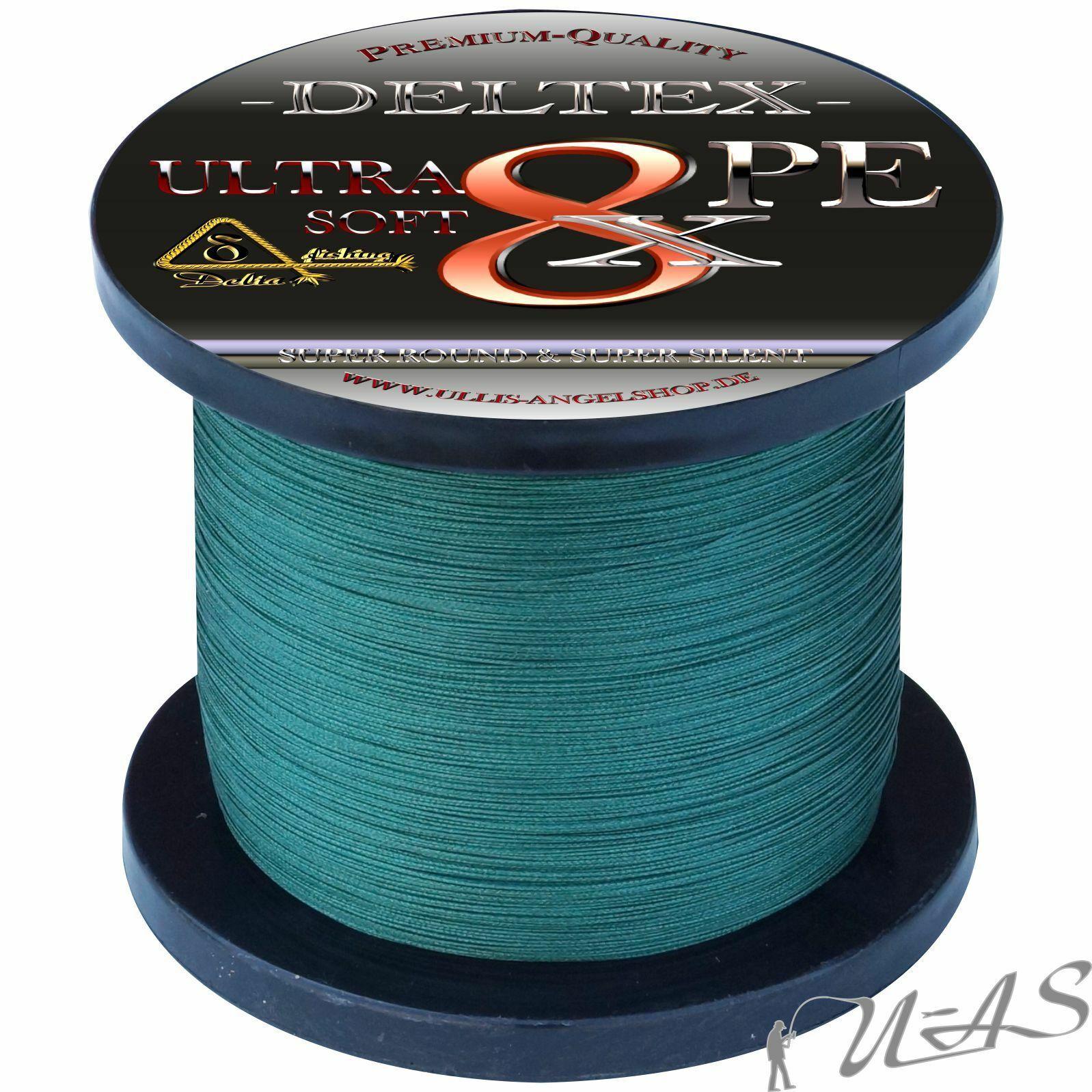 Deltex Ultra Soft verde 0,15mm 8.90kg 1000m 8 volte intrecciato lenza KVA