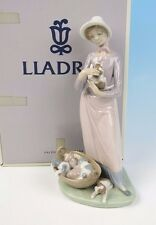 LLADRO Figurine MY PUPPIES #5807 BOX Retired Mint Girl Flowers Puppy Dog Glazed