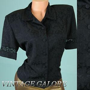 VTG-80s-Black-floral-button-down-cocktail-evening-embroidered-blouse-top-Sz-L