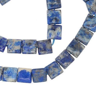 "15.5"" Natural Lapis Lazuli Flat Square Beads  8mm Grade B- #72021"