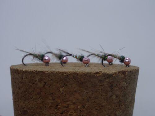 5 Dee Nymphs Barbless Jig Hook Size 16 Tungsten Metallic Pink 3mm